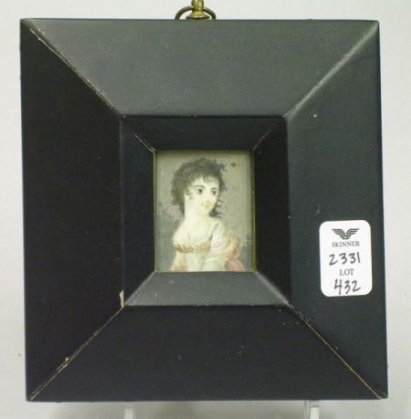 American School 19th Century Portrait Miniature of a Young Lady in a Pink Dress