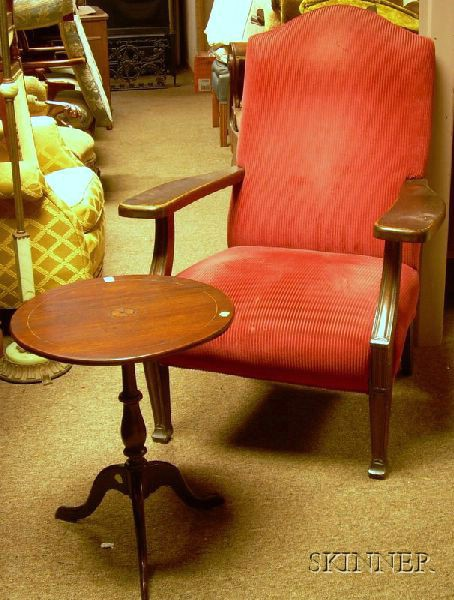 Upholstered Oak Armchair and a Small Inlaid Mahogany Tilt-top Candlestand.
