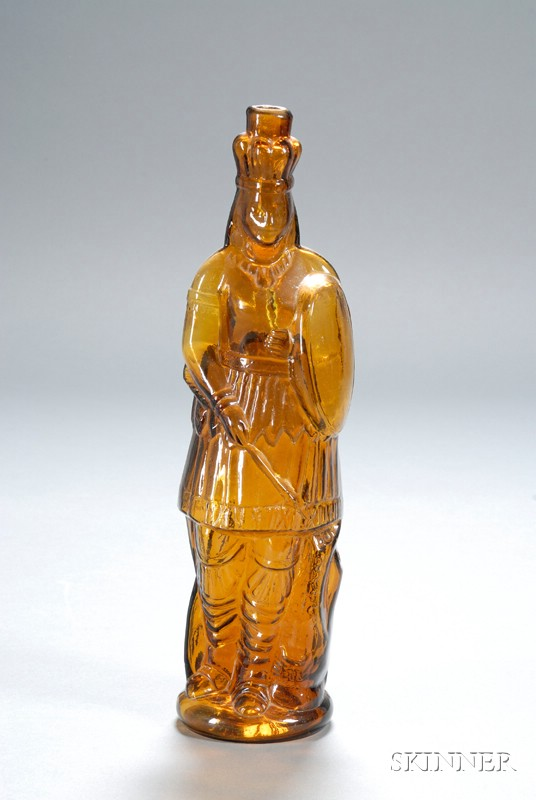 """Amber """"H. Pharazyn Phila Right Secured"""" Indian Queen Figural Bottle"""