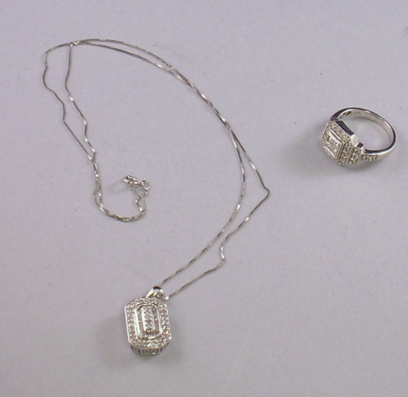 Two 14kt White Gold and Diamond Jewelry Items