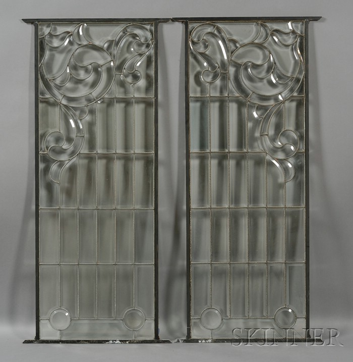 Pair of Decorative Glass Windows
