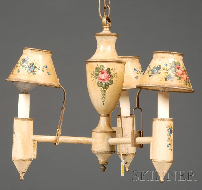 French Tole Three-light Chandelier
