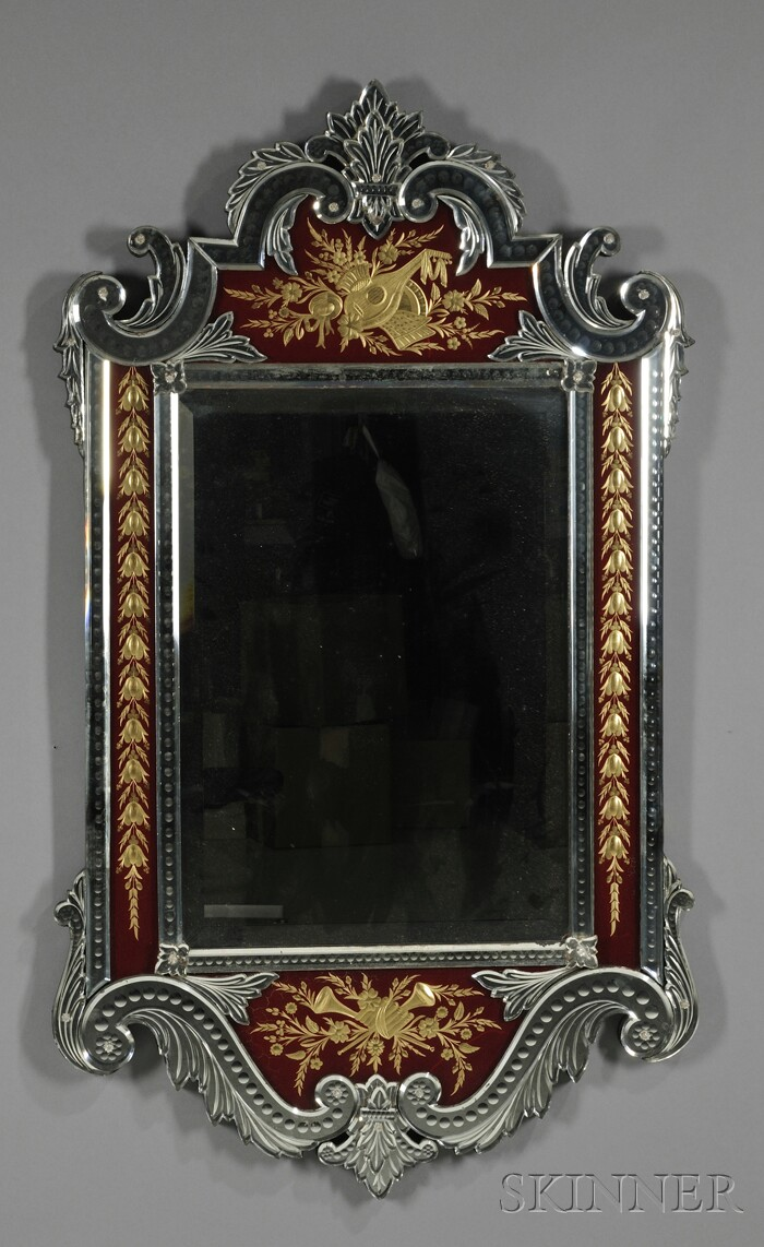 Venetian Colorless and Red Enameled Glass Mirror