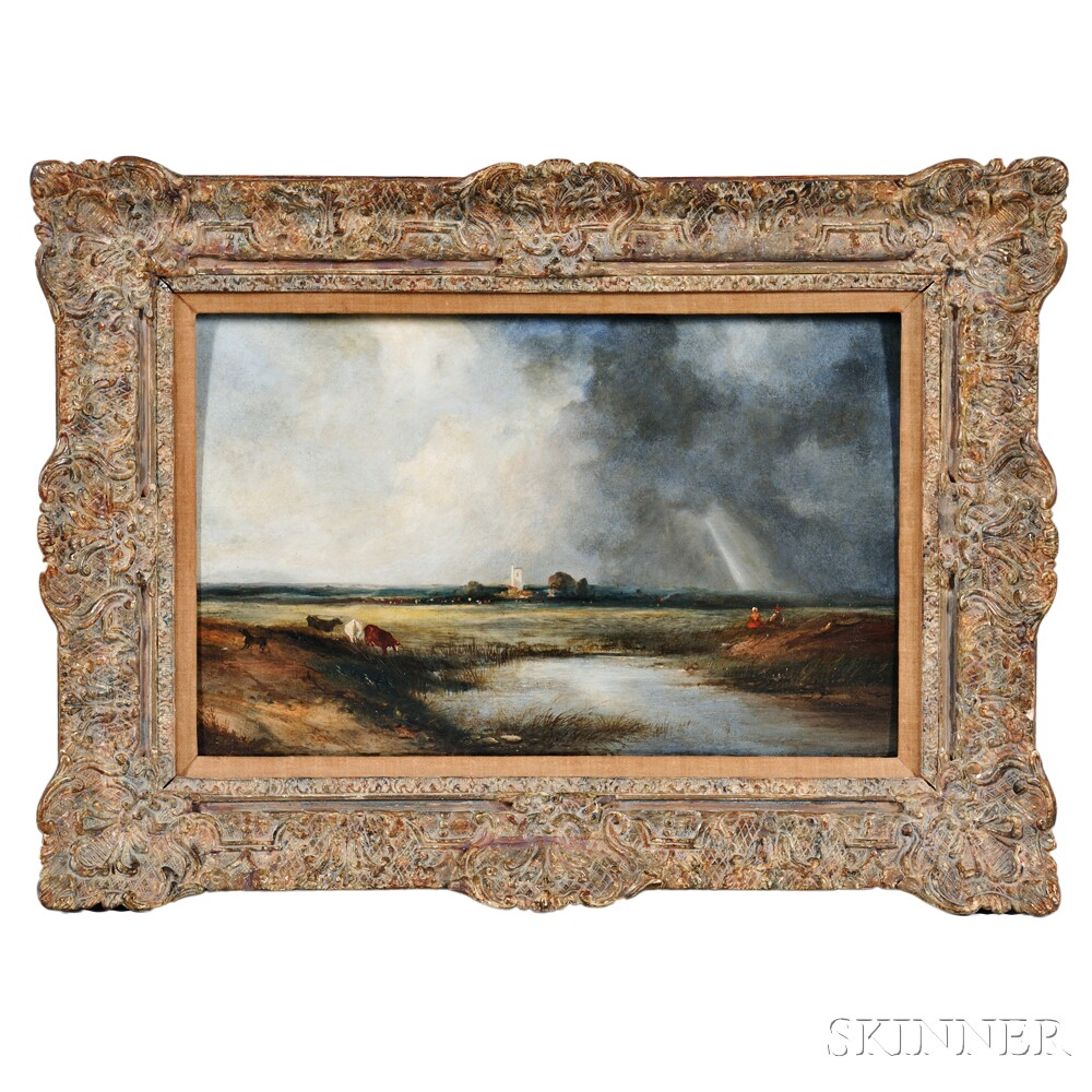 British School, Early 19th Century      Marsh Landscape with Sunbeam through the Clouds