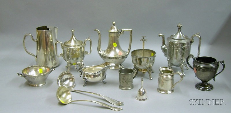 Thirteen Pieces of Silver Plated and Hotel Plated Tableware