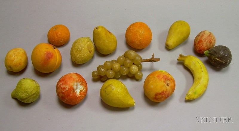Fifteen Pieces of Carved and Painted Stone Fruit.