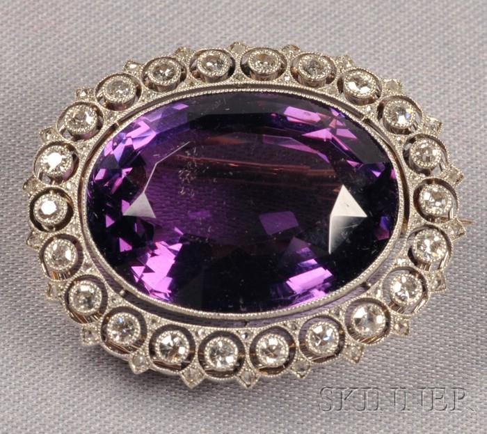 Edwardian Platinum, Amethyst, and Diamond Brooch