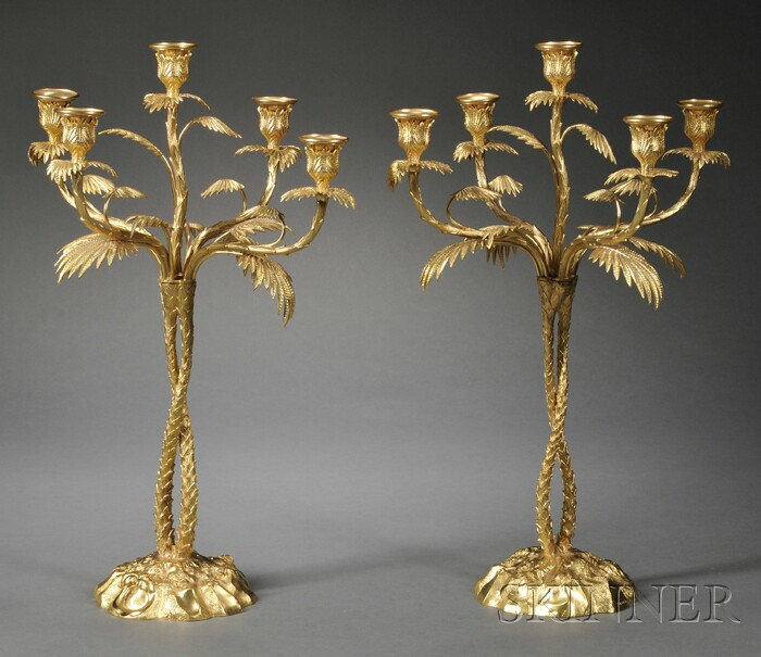 Pair of Elkington & Co. Palm Tree-form Gilt-metal Five-light Candelabra