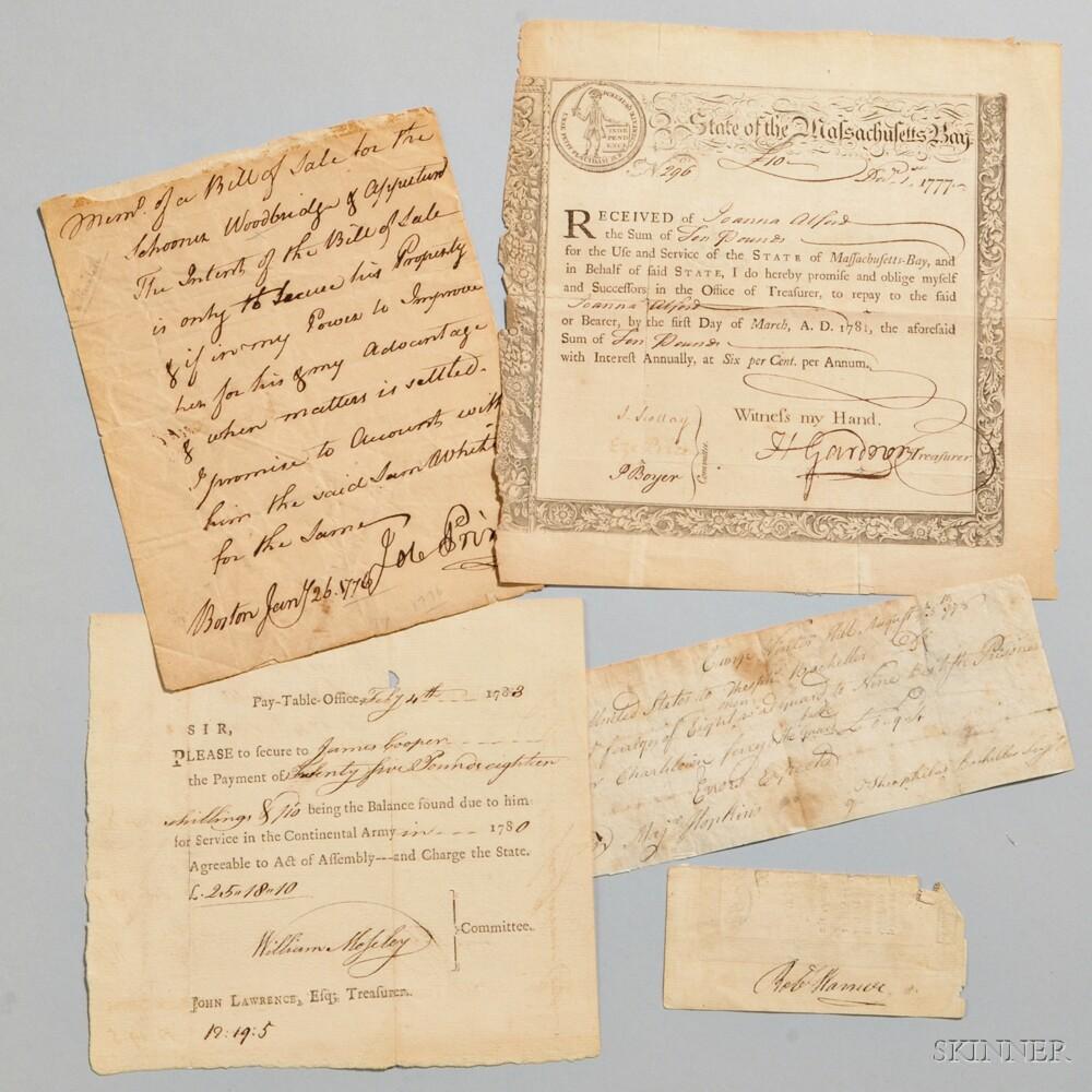 Revolutionary War, Four Documents.