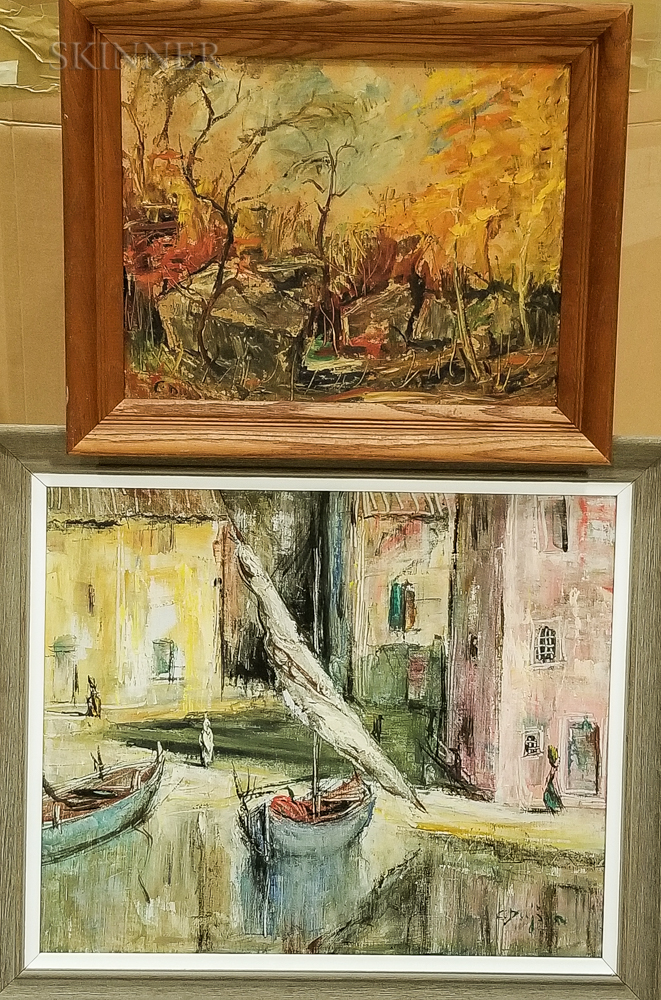 Two Framed Oil on Canvas Works
