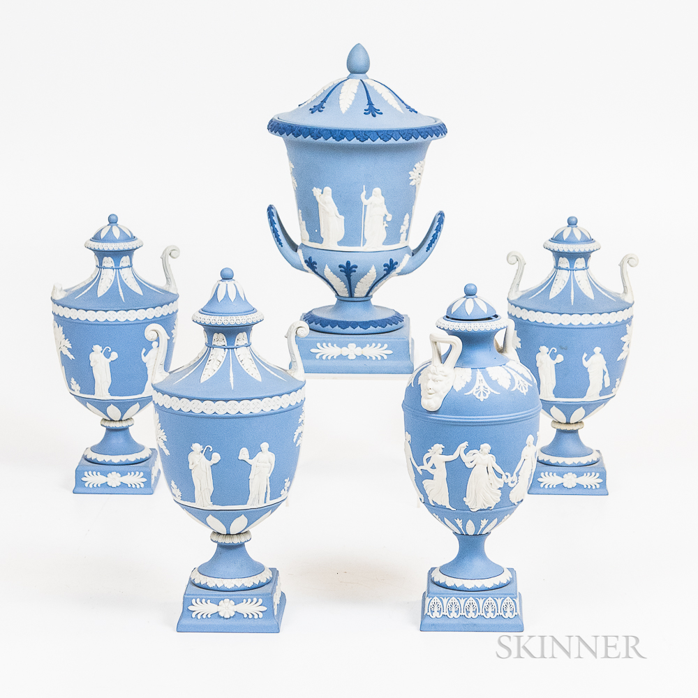 Five Modern Wedgwood Light Blue Jasper Items