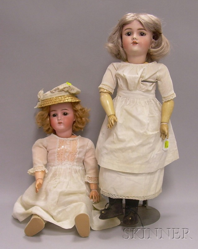 Two German Bisque Dolls in White Dresses