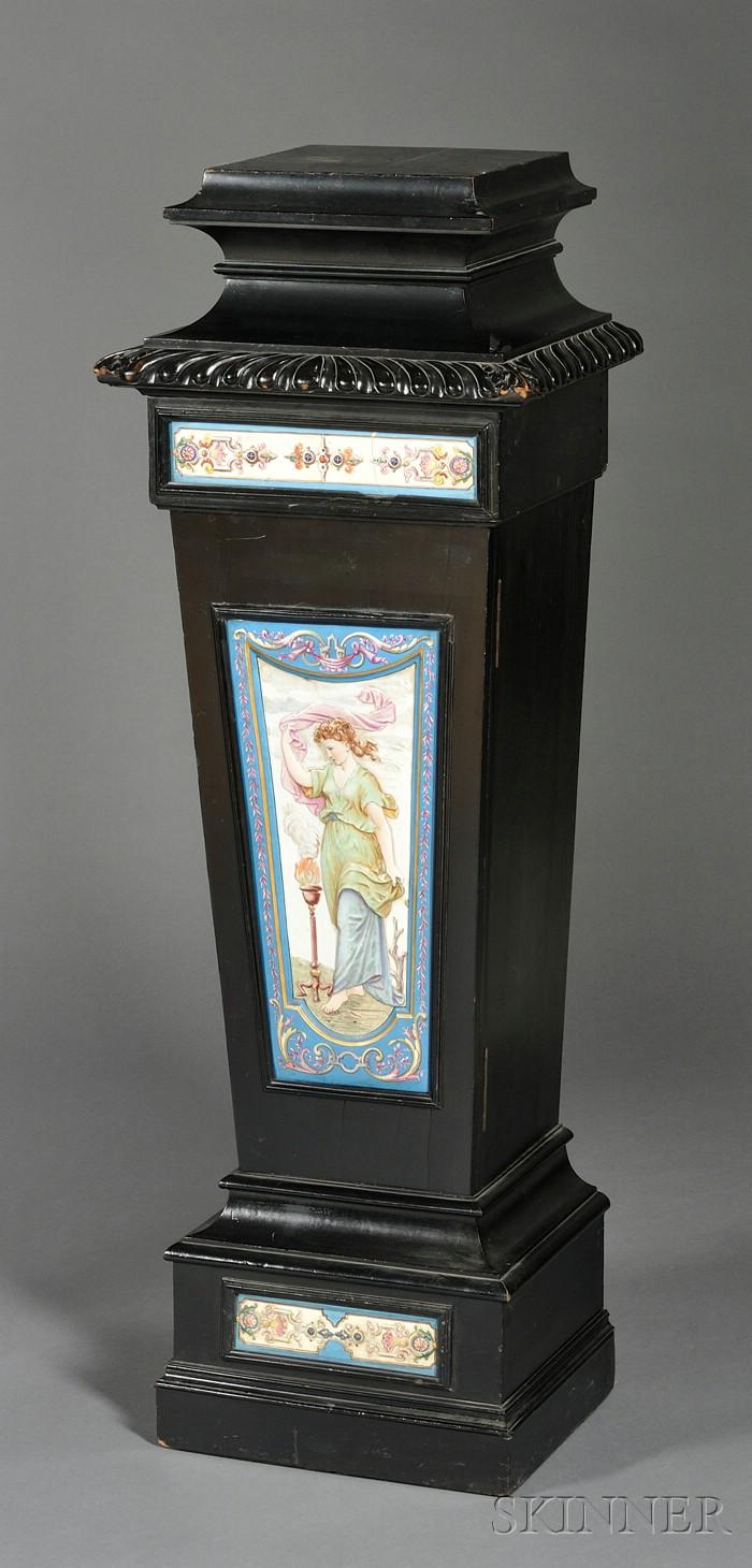 English Aesthetic Movement Tile-mounted and Ebonized Pedestal