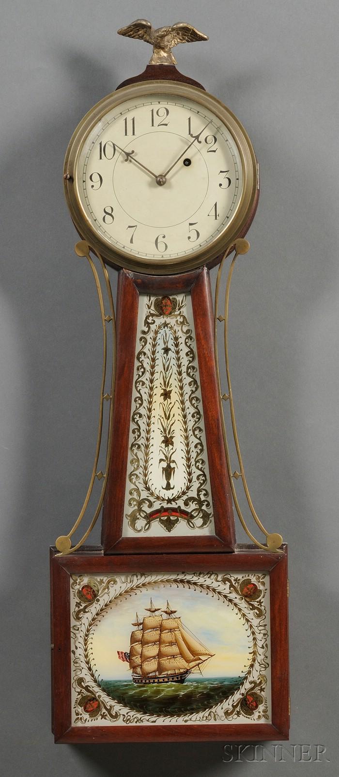 "Mahogany Patent Timepiece or ""Banjo"" Clock by Roland Macy"