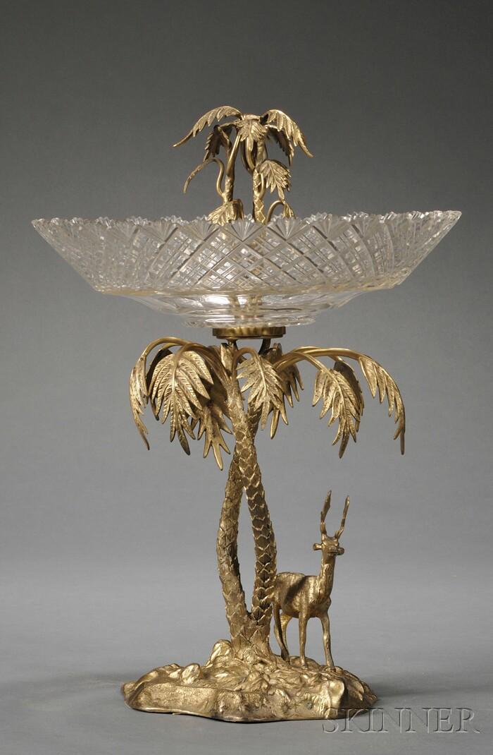 Victorian Gilt-metal and Cut Glass Centerpiece