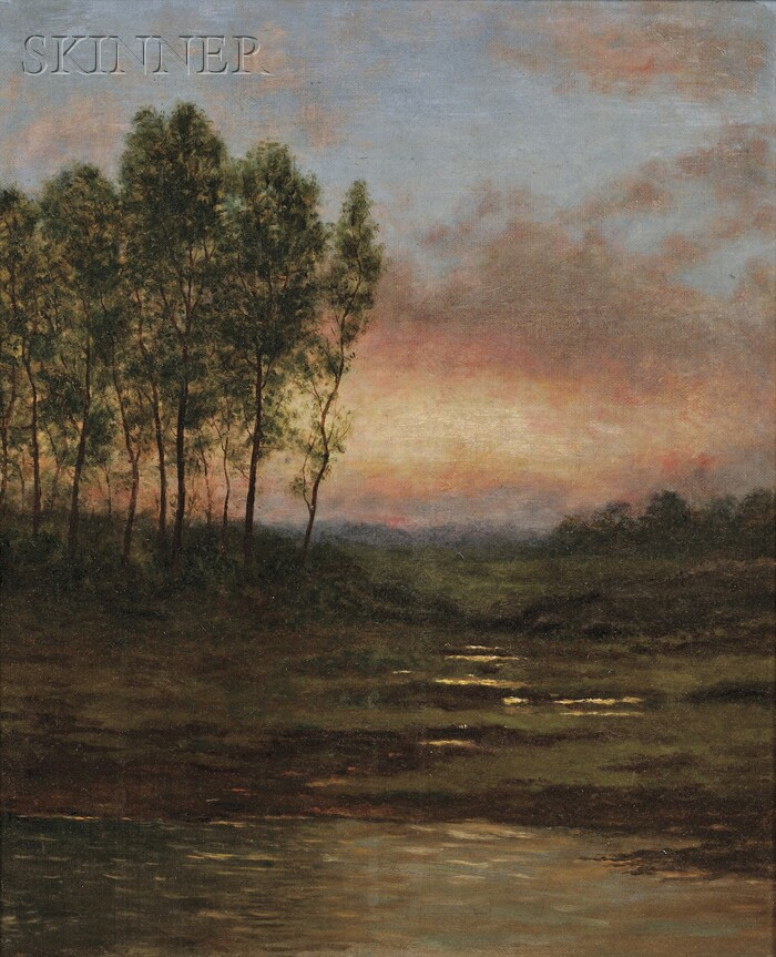 American School, 19th Century      Sunset Over a Marsh