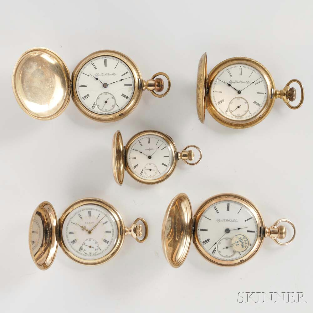 Five Elgin Gold-filled Hunter Case Watches