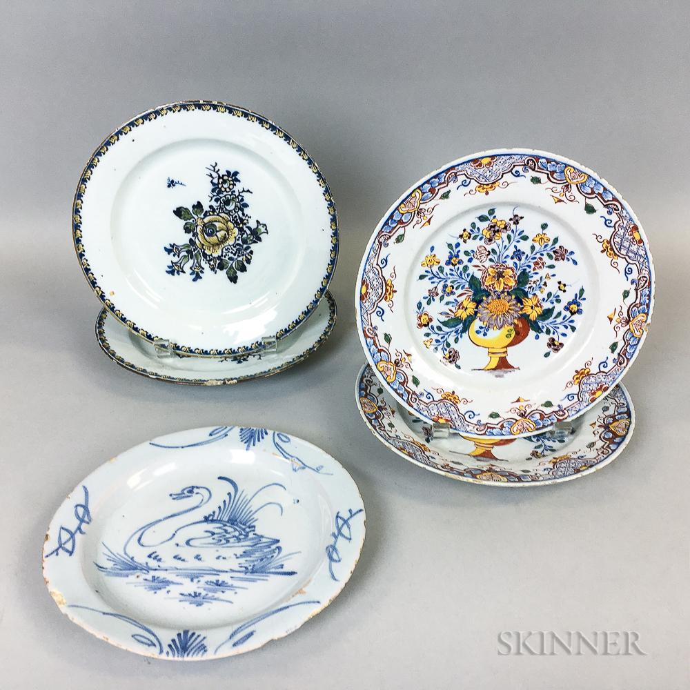 Five Delft Mostly Polychrome Ceramic Plates