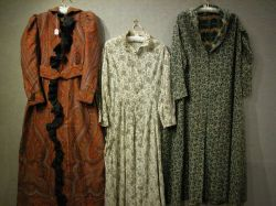 Woven Wool Paisley Robe and Two Printed Cotton and Wool Night Dresses.