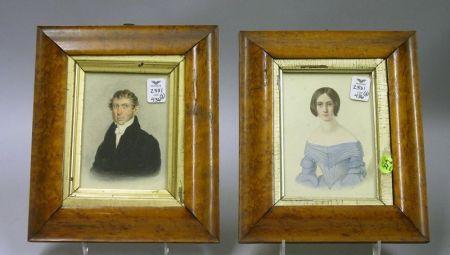 Bird's Eye Maple Framed Pair of 19th Century Portrait Miniatures