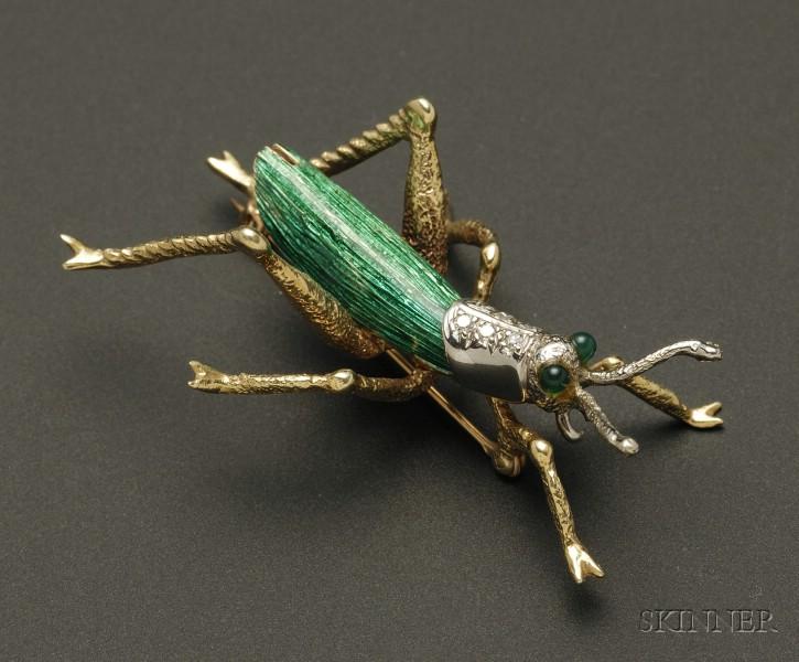 14kt Gold, Enamel, and Diamond Grasshopper Brooch
