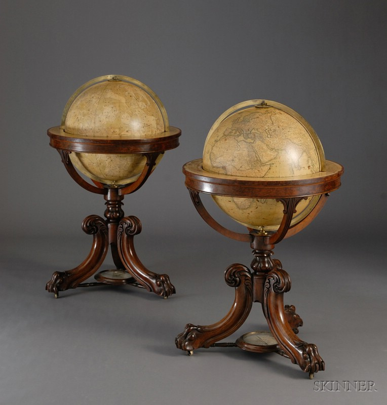 Magnificent Pair of 18-inch Newton Library Globes