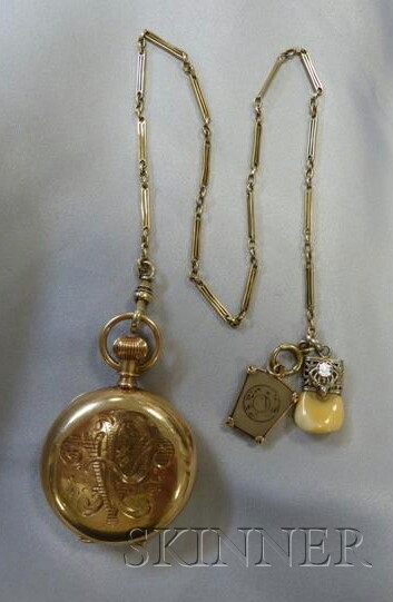 Antique 14kt Gold Hunting Case Pocket Watch, Elgin