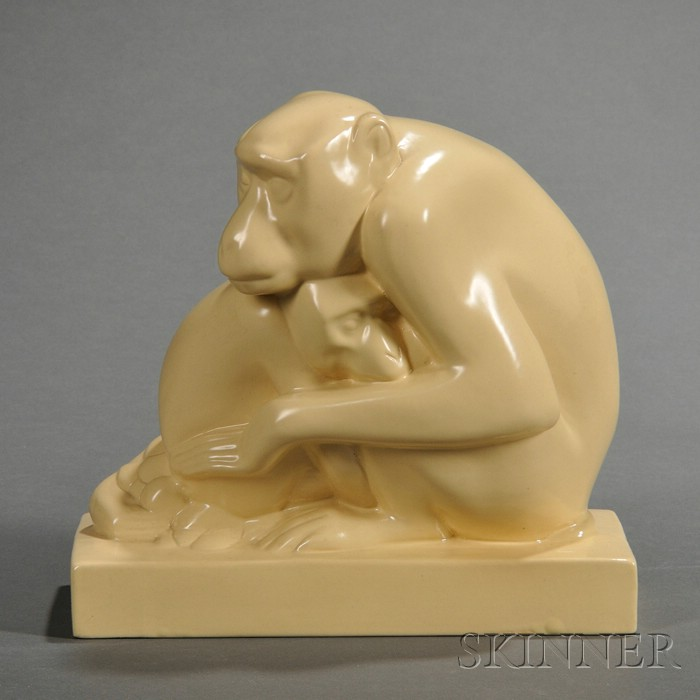 Wedgwood Skeaping Matte Cane Glazed Monkeys