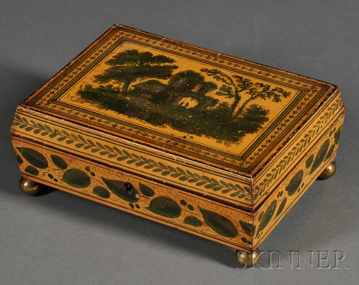 Small Regency Penwork and Paint Decorated Jewelry/Sewing Box