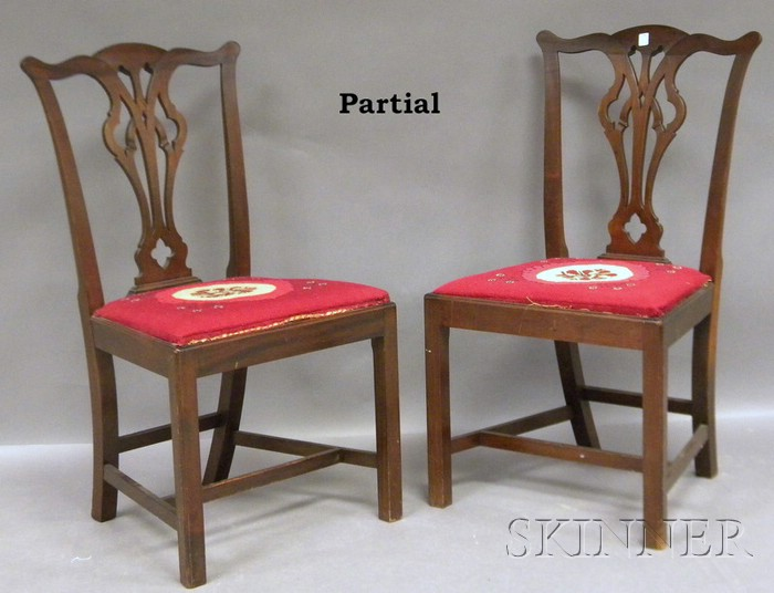 Set of Six Chippendale-style Carved Mahogany Dining Side Chairs.