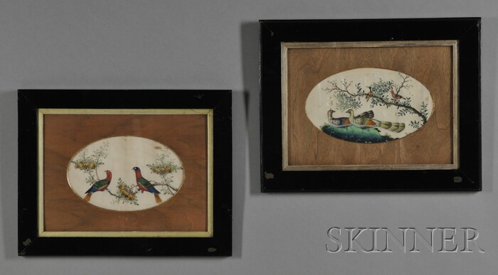 Pair of Framed Chinese Export Album Leaves with Watercolor Paintings of Birds