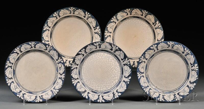 Five Dedham Pottery Rabbit Plates