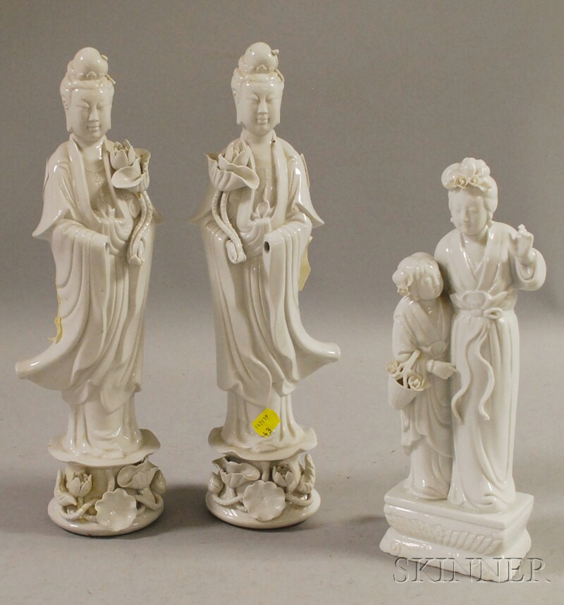 Three Chinese Blanc de Chine Deity Figures