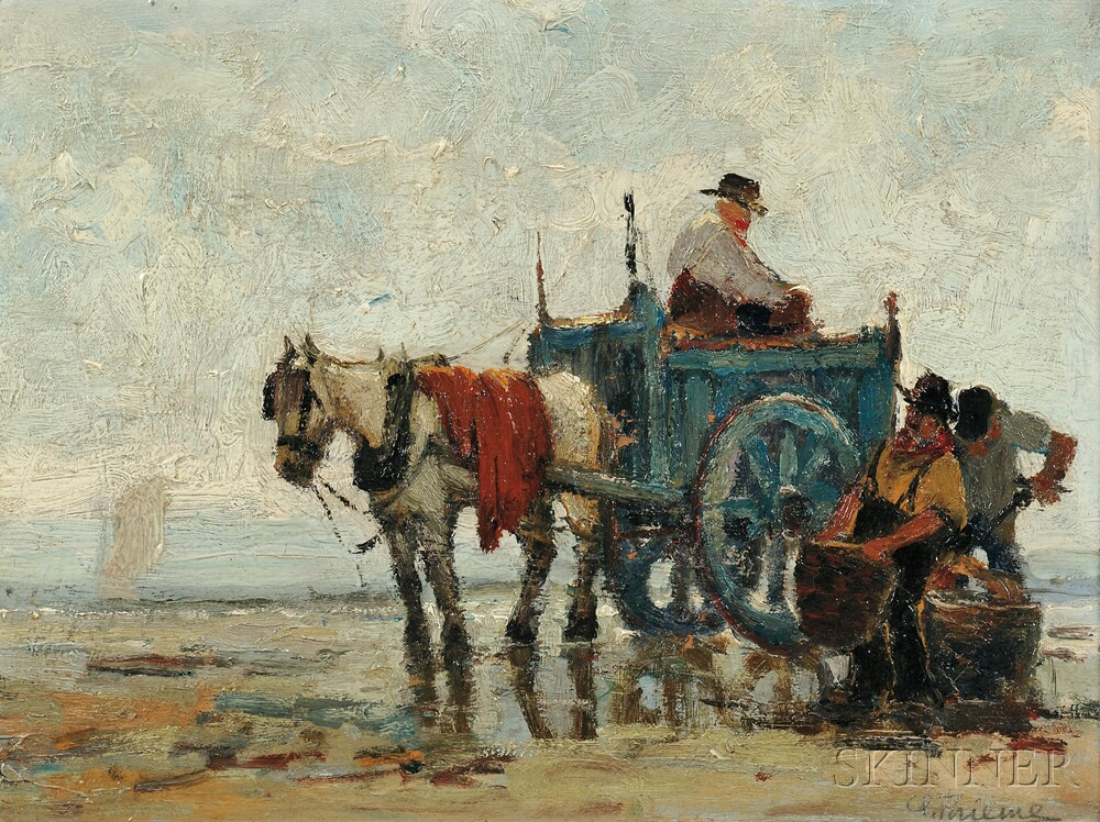 Anthony Thieme (American, 1888-1954)      Kelp Harvesters with Horse Cart