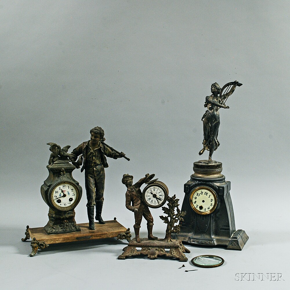 Three French Spelter Figural Mantel Clocks