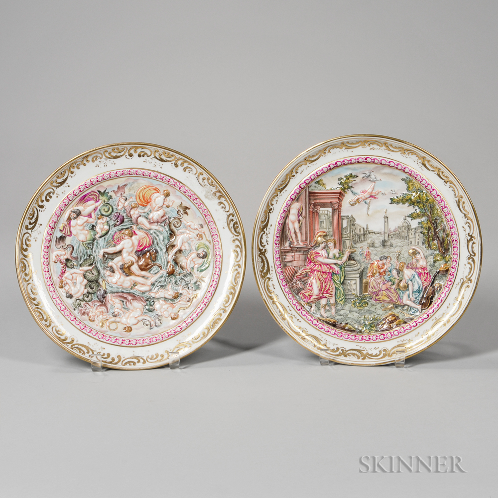 Pair of Continental Capo di Monte-style Dishes