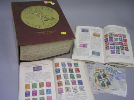Three Albums of U.S. and World Stamp Blocks and Postage