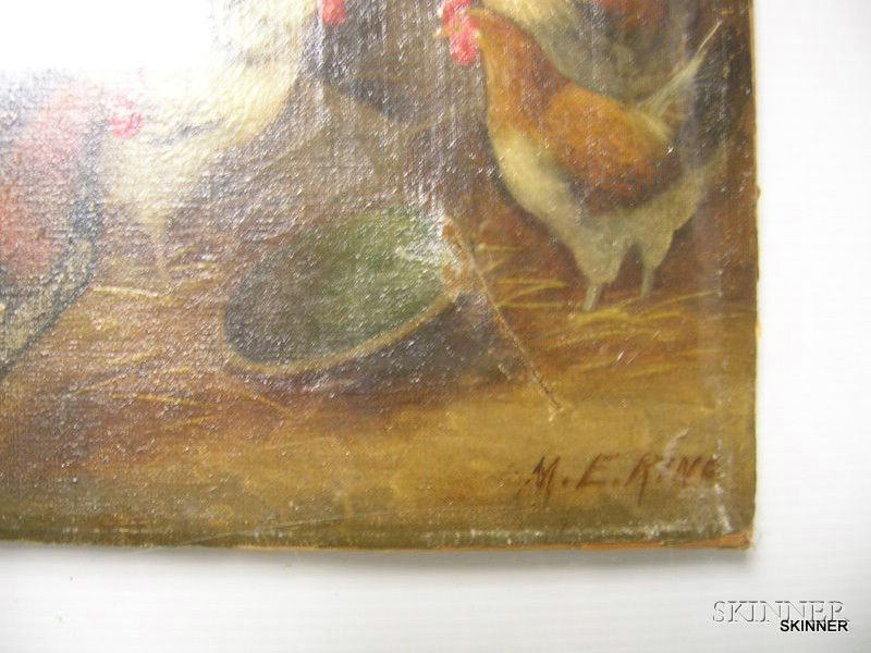 Framed Oil on Canvas Scene with Chickens in a Barn