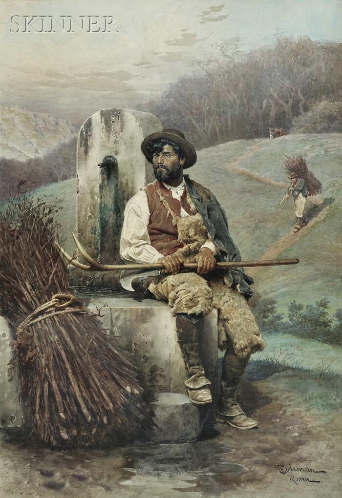 Francesco Coleman (Italian, 1851-1918)      The Wood Gatherer