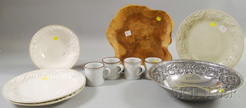 Burlwood Dish, Three Fioriware & Jardinware Plates and a Bowl, a Wilton Armetale Bowl, and a Set of Four Dansk Porcelain Mugs.