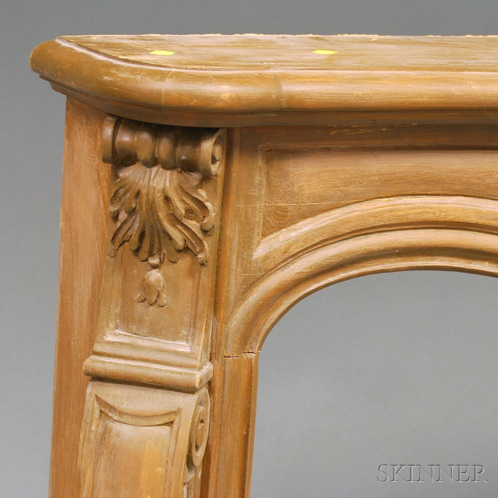 Carved and Painted Pine French Provincial Mantel