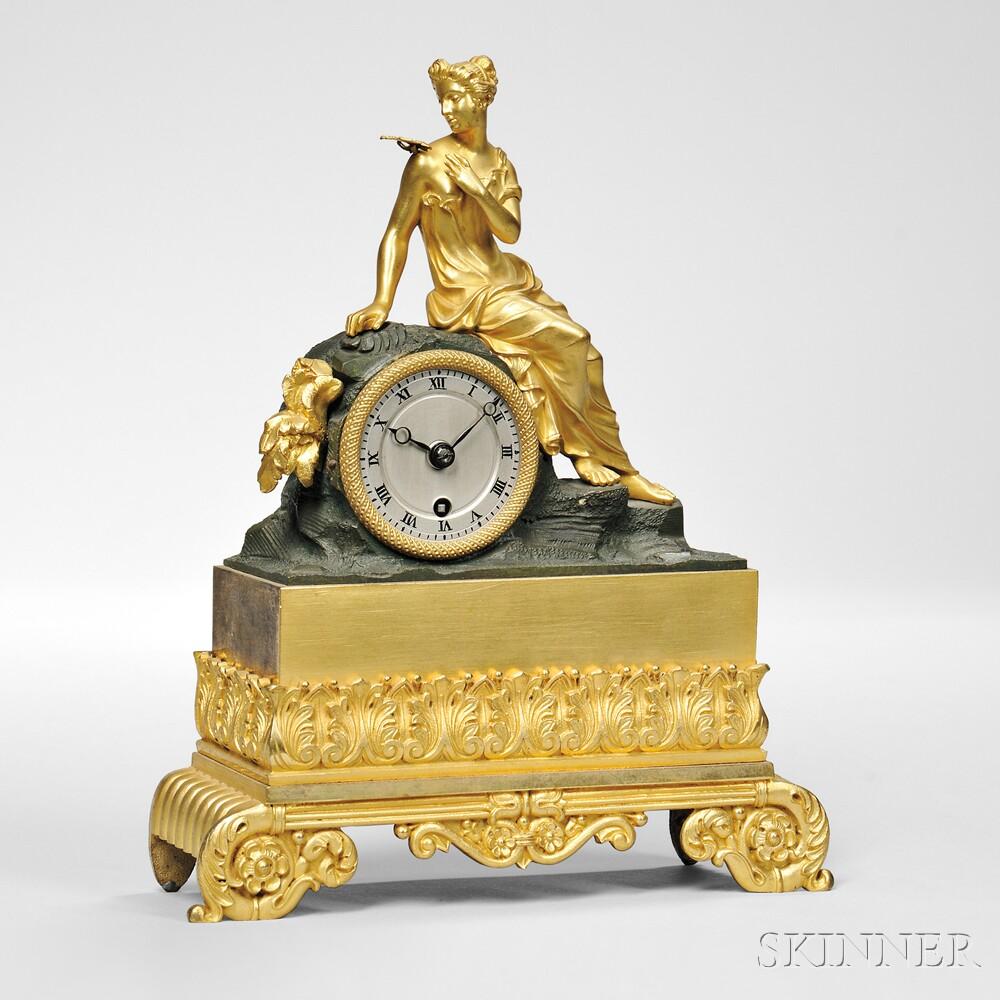 Diminutive LeRoy Gilt-brass Figural Mantel Clock