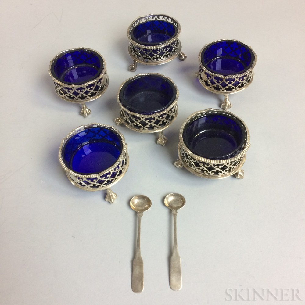 Set of Six Daniel & Charles Houle Sterling Silver and Cobalt Glass Footed Salts