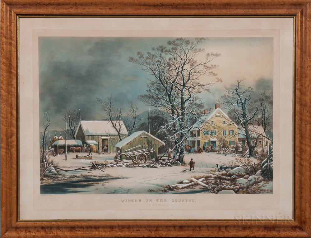 Currier & Ives Lithograph Winter in the Country: A Cold Morning