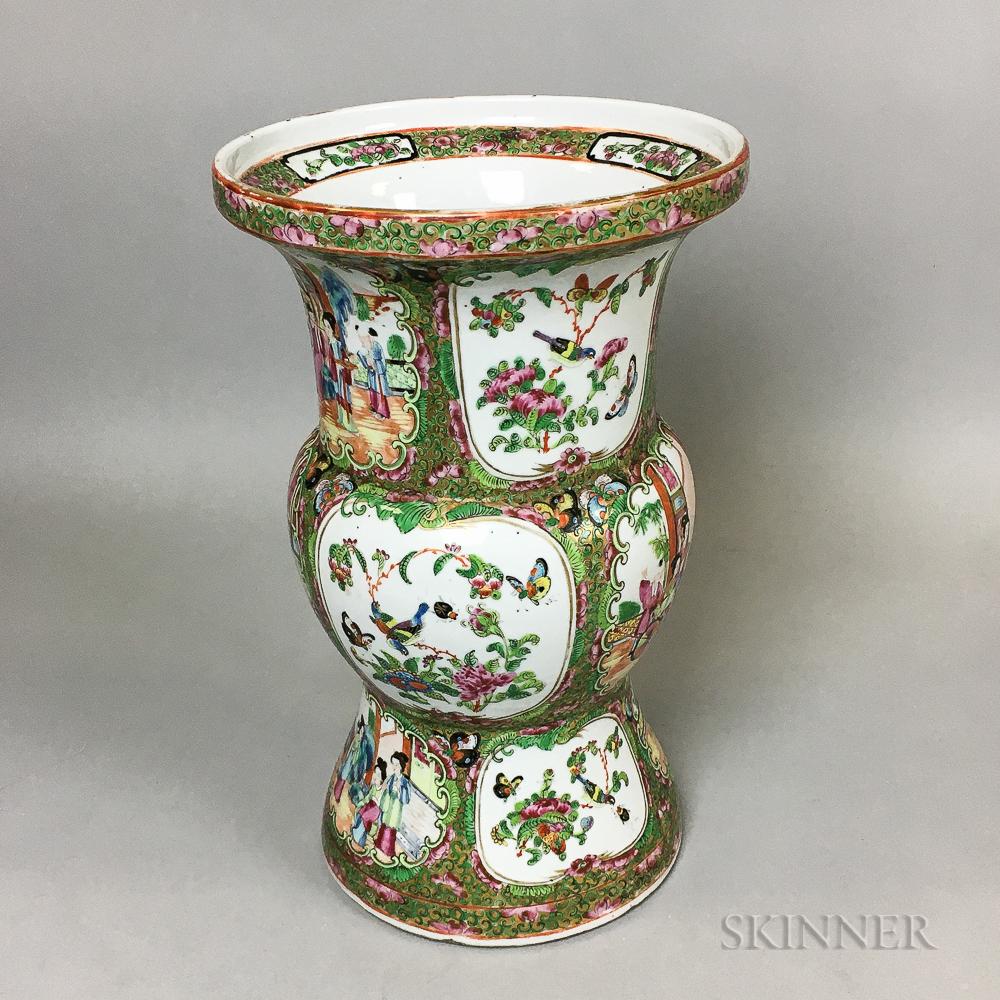 Famille Rose Export Porcelain Ku-form Vase
