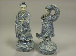 Pair of Japanese Blue and White Porcelain Deity Figures.