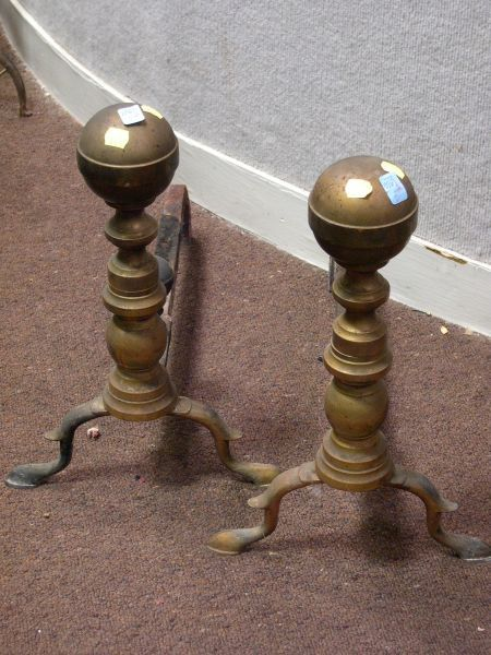 Pair of Brass Belted Ball-top Andirons.