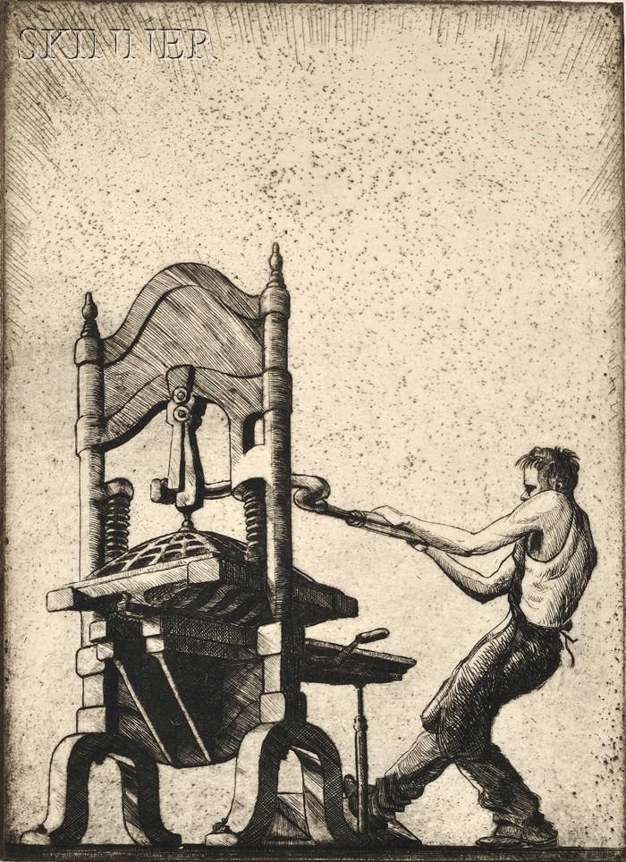Charles Ernest (Eugène) Pont (French/American, b. 1898)      The Block Printer