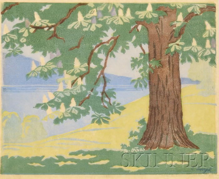 Elfriede Jungk (German, b. 1889) Woodblock Print      Tree in Bloom by a Lake