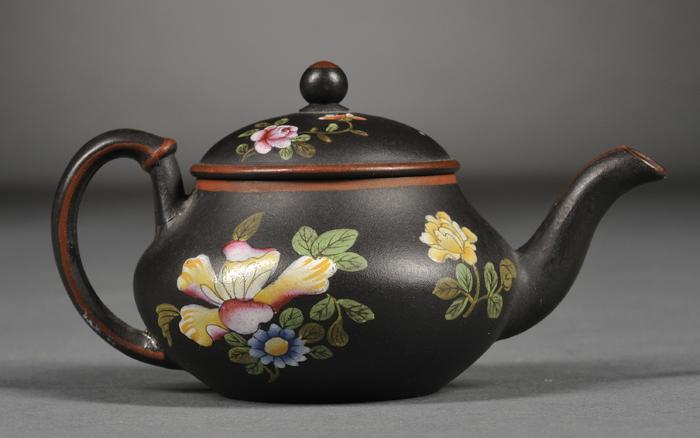 Miniature Wedgwood Black Basalt Teapot and Cover